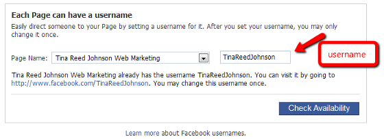 Facebook Change Username Dialog Box
