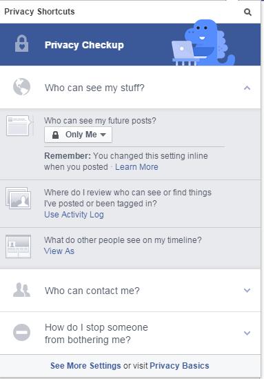 Facebook privacy shortcuts